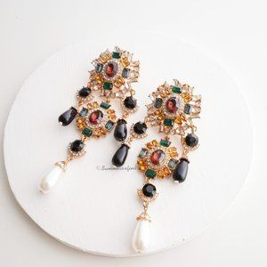 Zara Colorful Bejeweled Earrings
